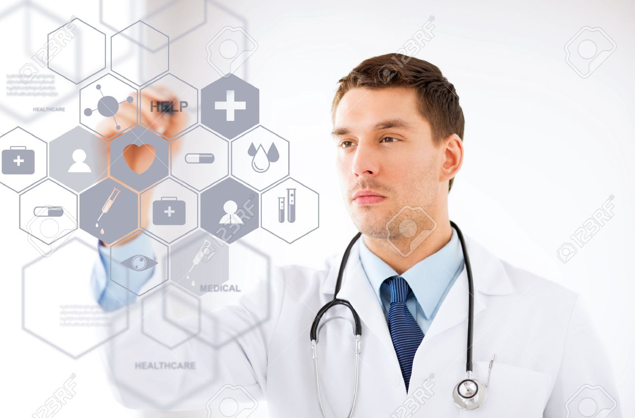 healthcare, medical and future technology concept - male doctor with stethoscope and virtual screen Stock Photo - 22184112