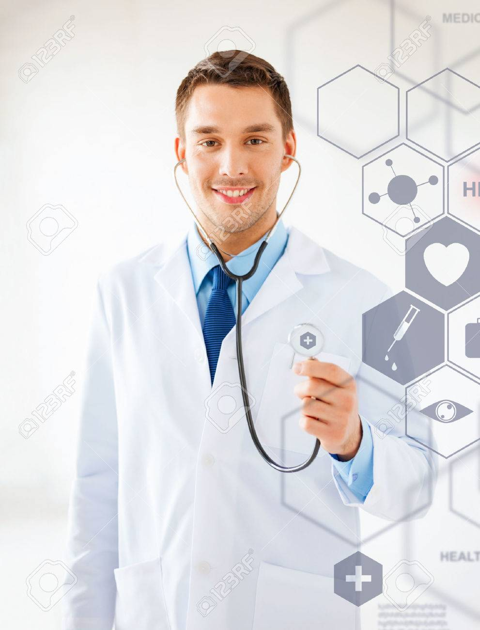 healthcare, medical and future technology concept - male doctor with stethoscope and virtual screen Stock Photo - 22184113
