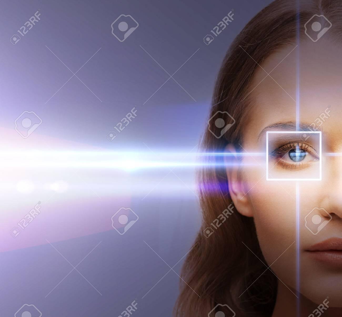 Banque d images - Santé, vision, vue - oeil de femme avec le cadre de la  correction au laser 3a9a1161898a