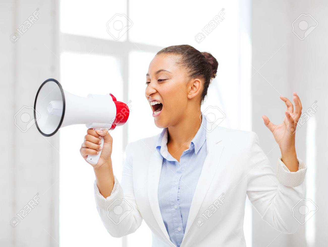business and communication bad boss concept strict stock photo business and communication bad boss concept strict businessw shouting in megaphone in office