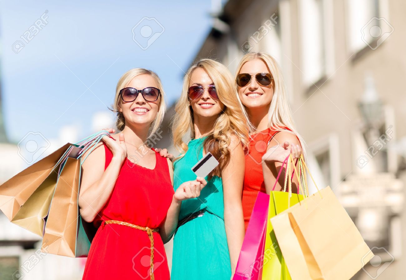 Sale And Tourism, Happy People Concept - Beautiful Blonde Women ...