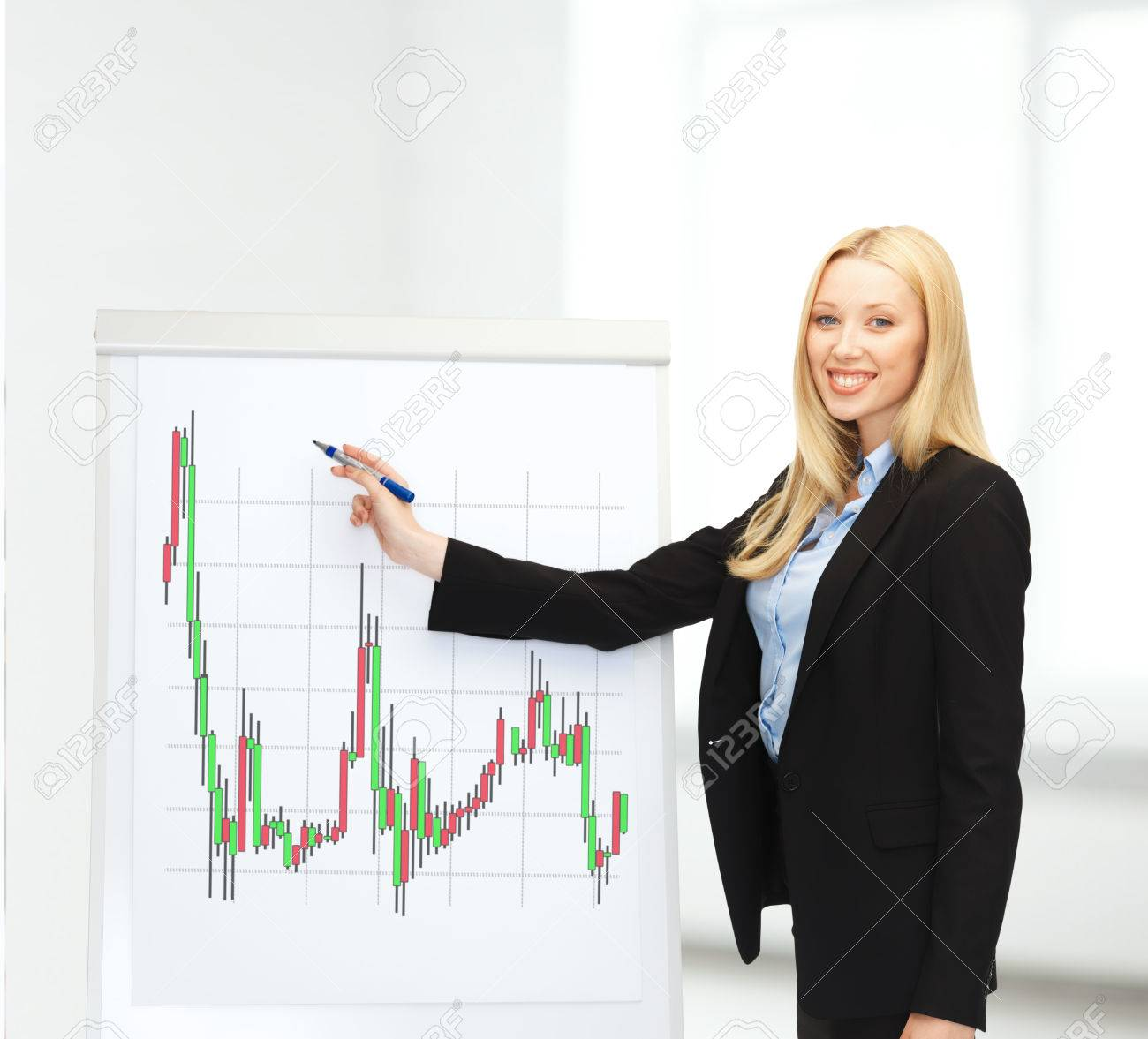 bussiness and money concept - smiling businesswoman drawing forex chart on flipboard in office Stock Photo - 24491642