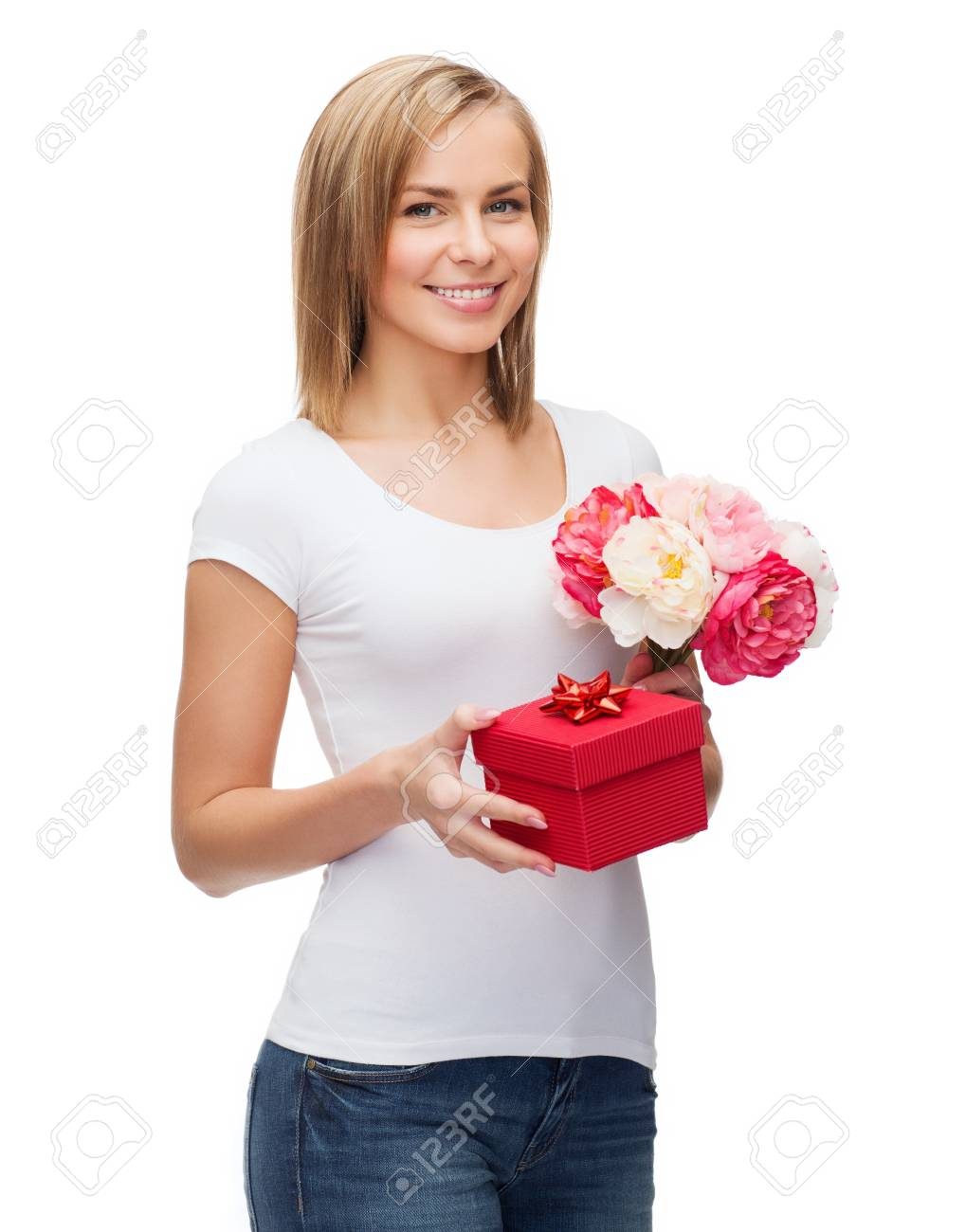 holidays, love and flowers concept - young woman with bouquet of flowers and red gift box Stock Photo - 25267358