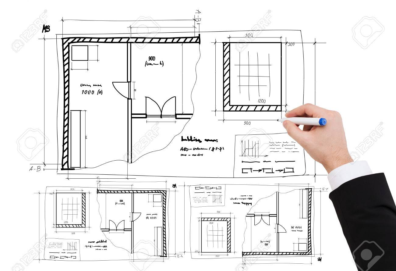 Business architecture and renovation concept close up of business architecture and renovation concept close up of businessman hand drawing blueprint stock photo malvernweather Choice Image