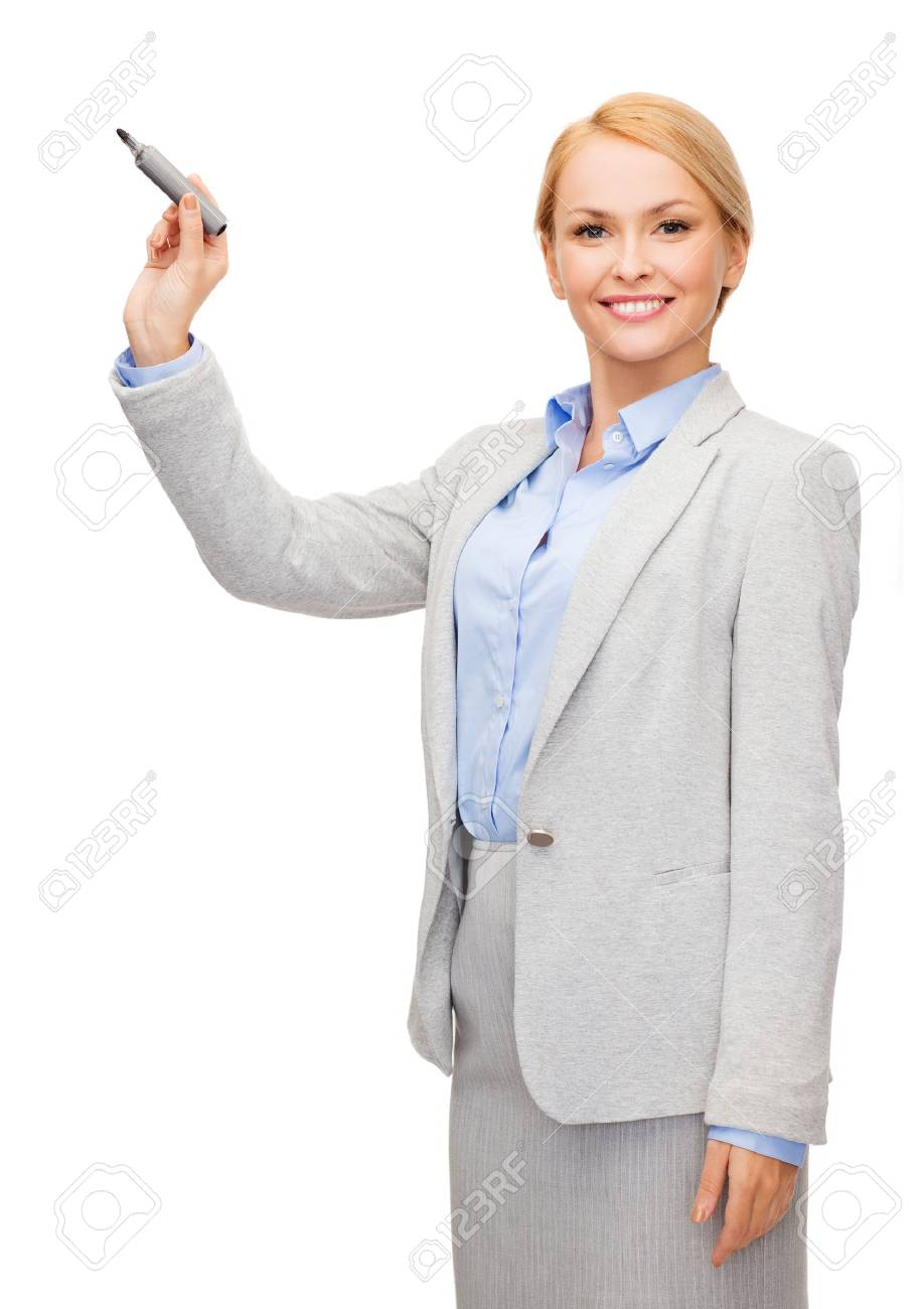 office, business and new technology concept - smiling businesswoman writing something in the air with marker Stock Photo - 25698968