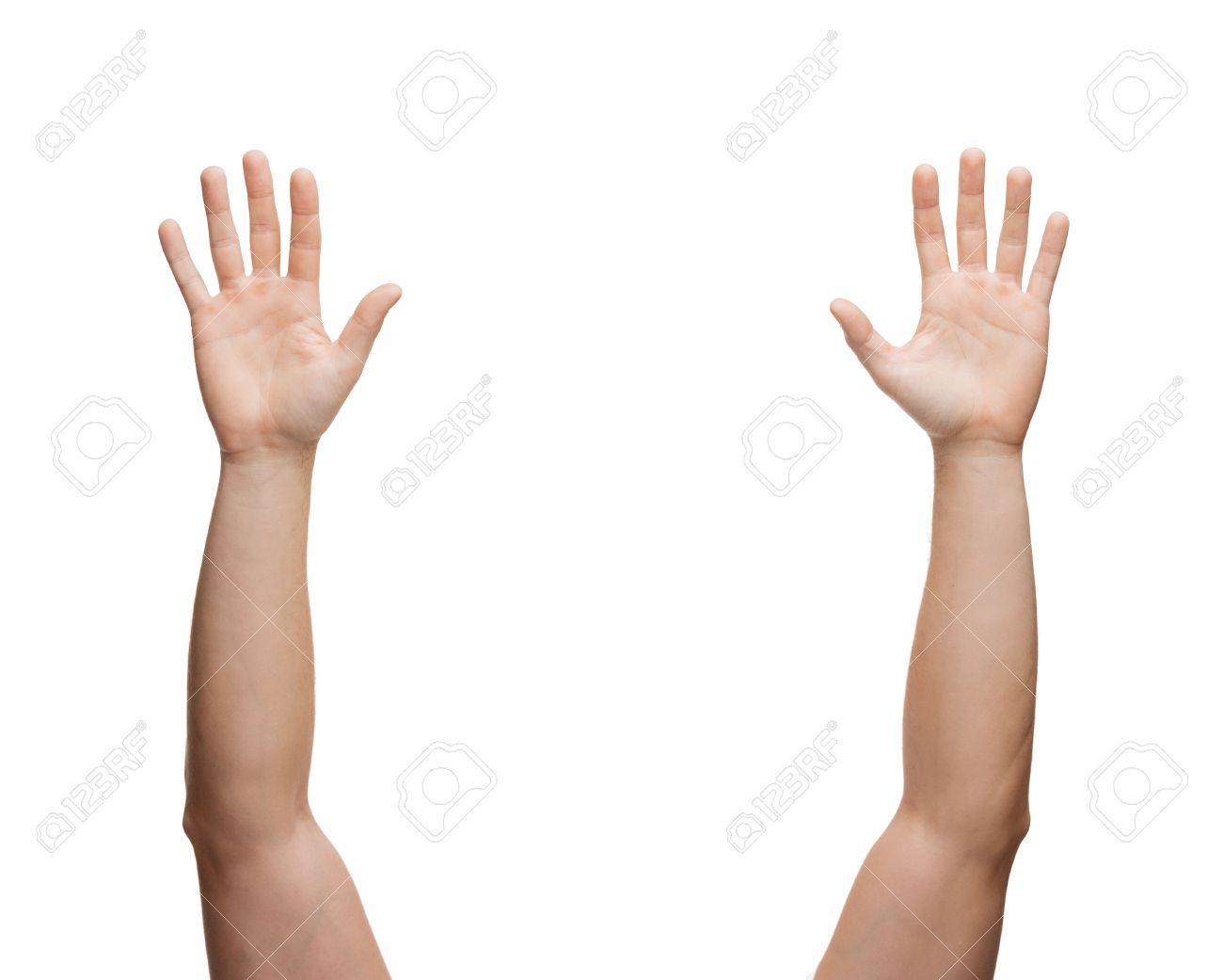Gesten Und Körperteile Konzept - Zwei Menschen Die Hände Winkenden ...