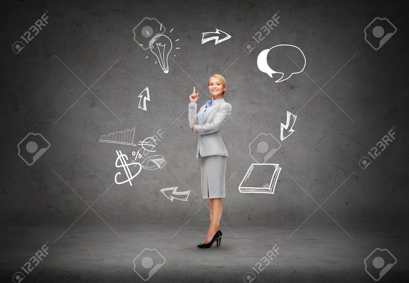 business and education concept - attractive young businesswoman with her finger up and different doodles Stock Photo - 26353280