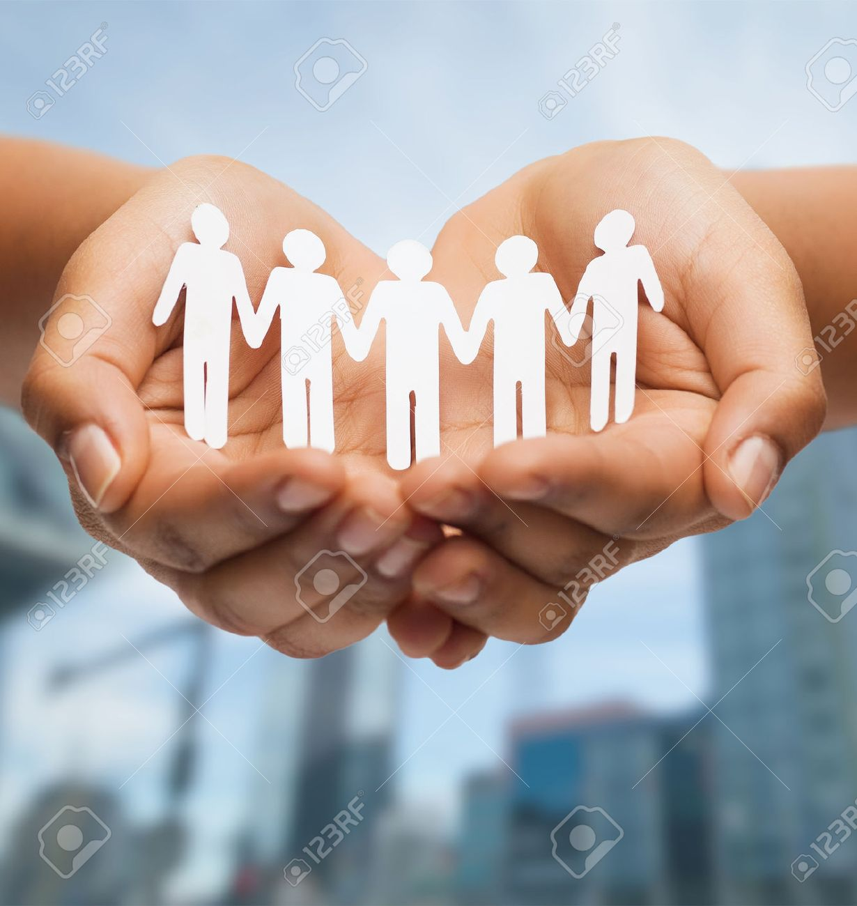 building a social network stock photos images royalty building a social network relationships and love concept w s hands showing paper cutout team