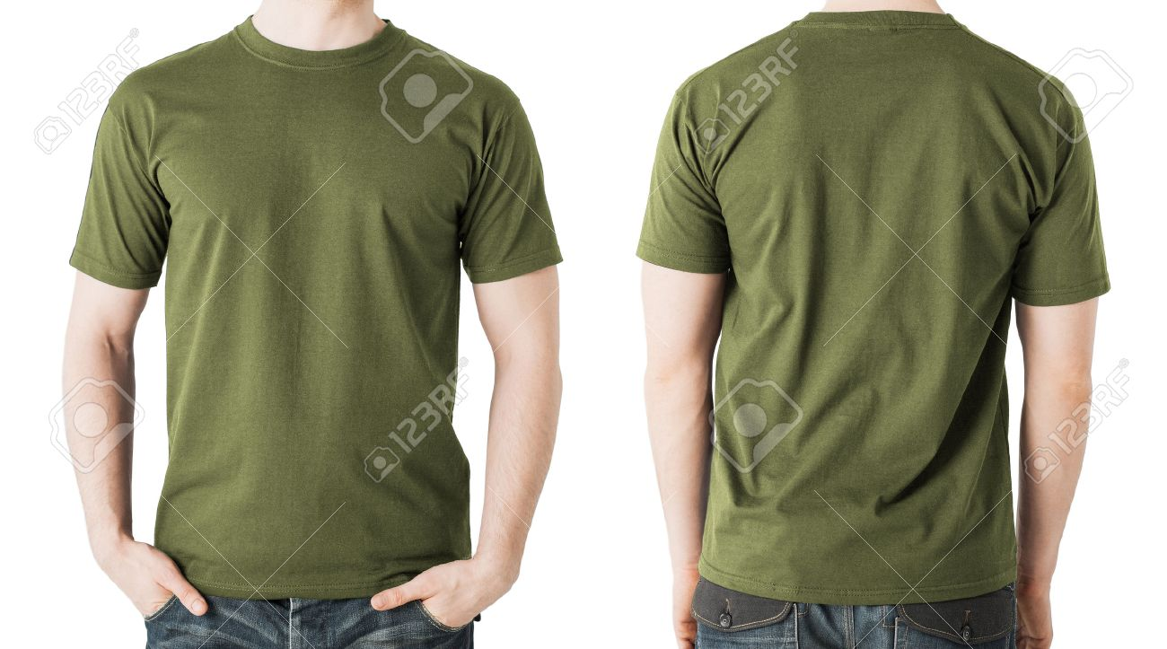 Design t shirt with front pocket - Clothing Design Concept Man In Blank Khaki Green T Shirt Front And Back