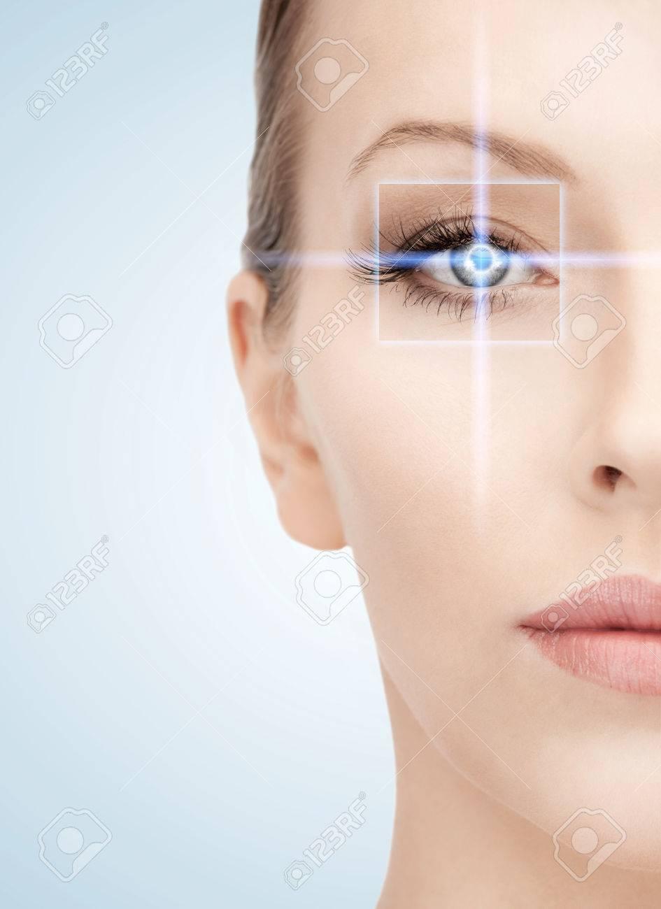 Banque d images - Santé, vision, vue, futur concept de la technologie -  oeil de femme avec le cadre de la correction au laser 9e13a4d41de1