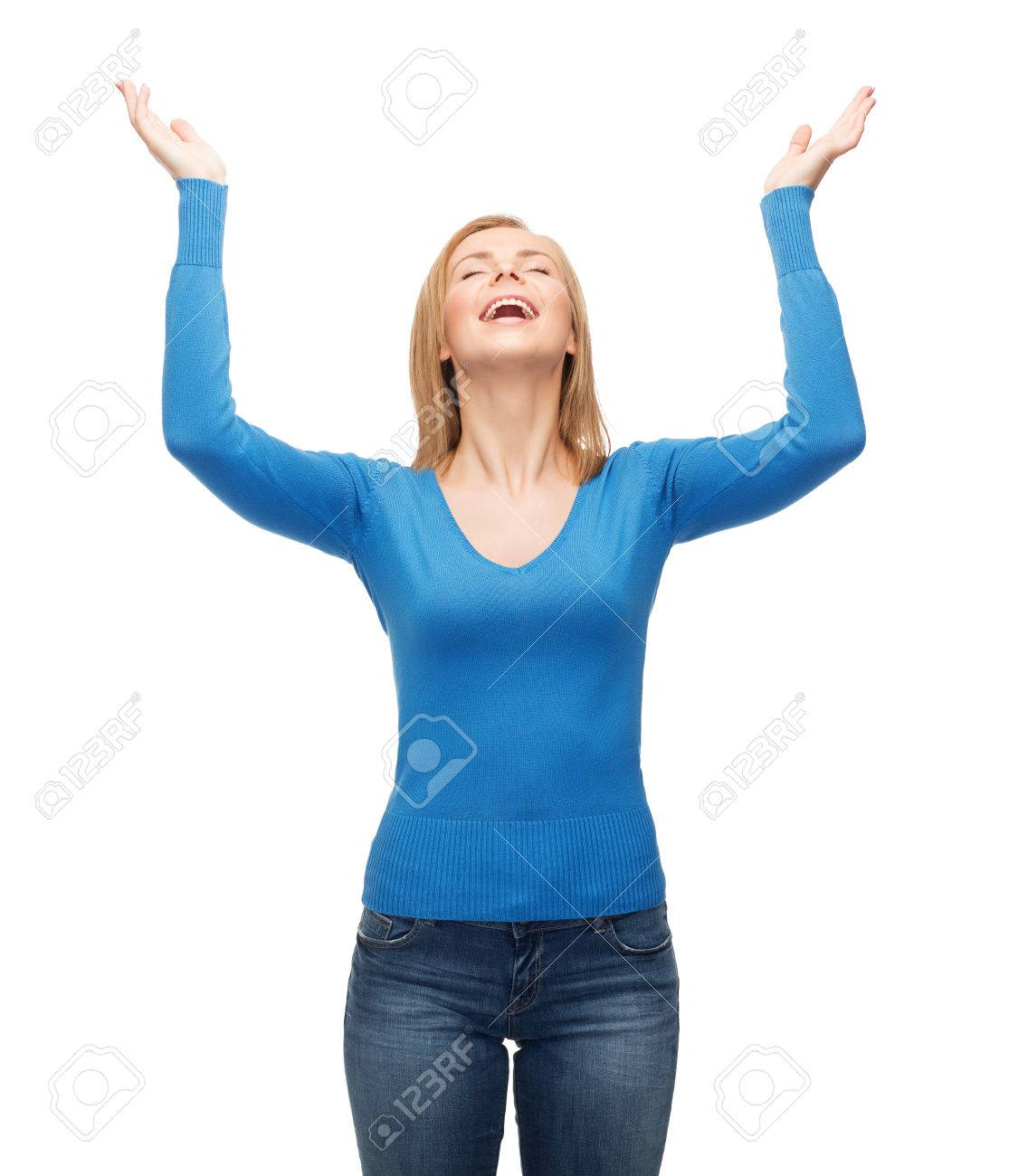 happiness and people concept - laughing young woman with closed eyes waving hands Stock Photo - 28139906