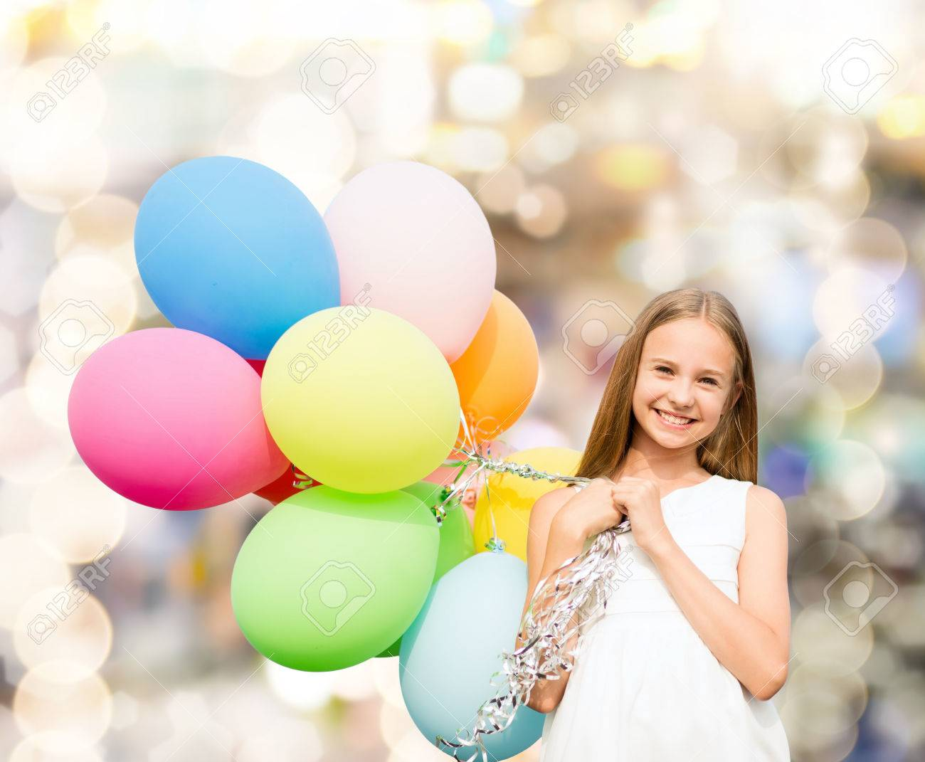 Happy Child On Summer Beach Playing With Colorful Balloons Stock ...