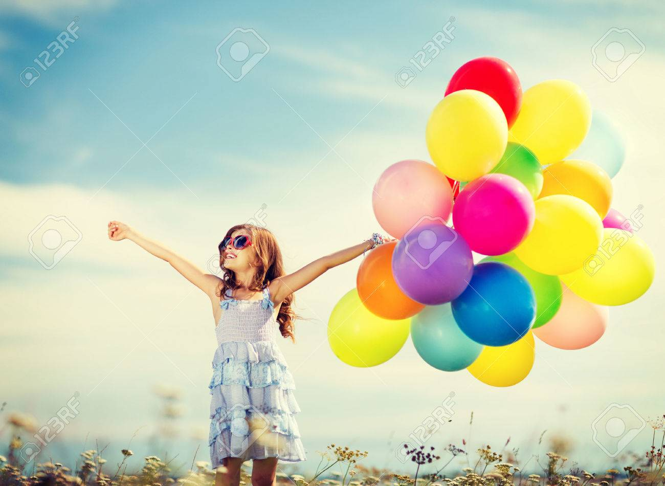 Happy Girl With Colorful Balloons Stock Photos - Image: 34602973