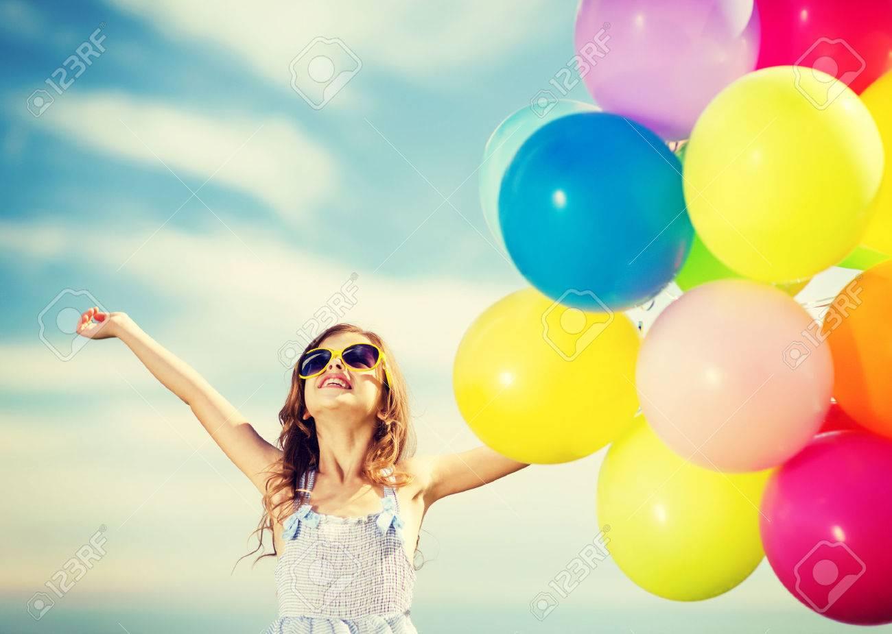Happy Girl Colorful Balloons Meadows Concept Stock Photo 524565691 ...