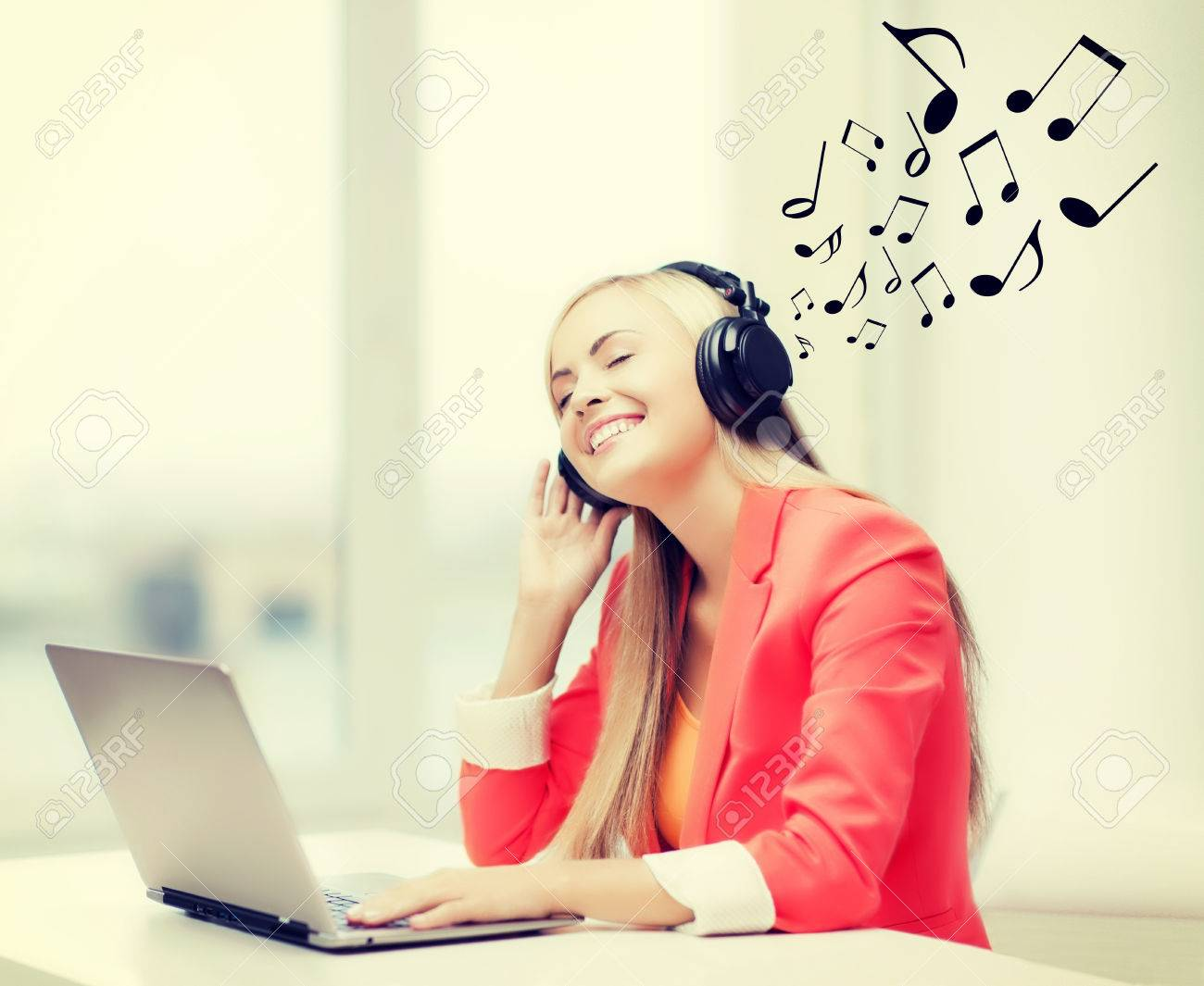 leisure, music, free time, online and internet concept - happy
