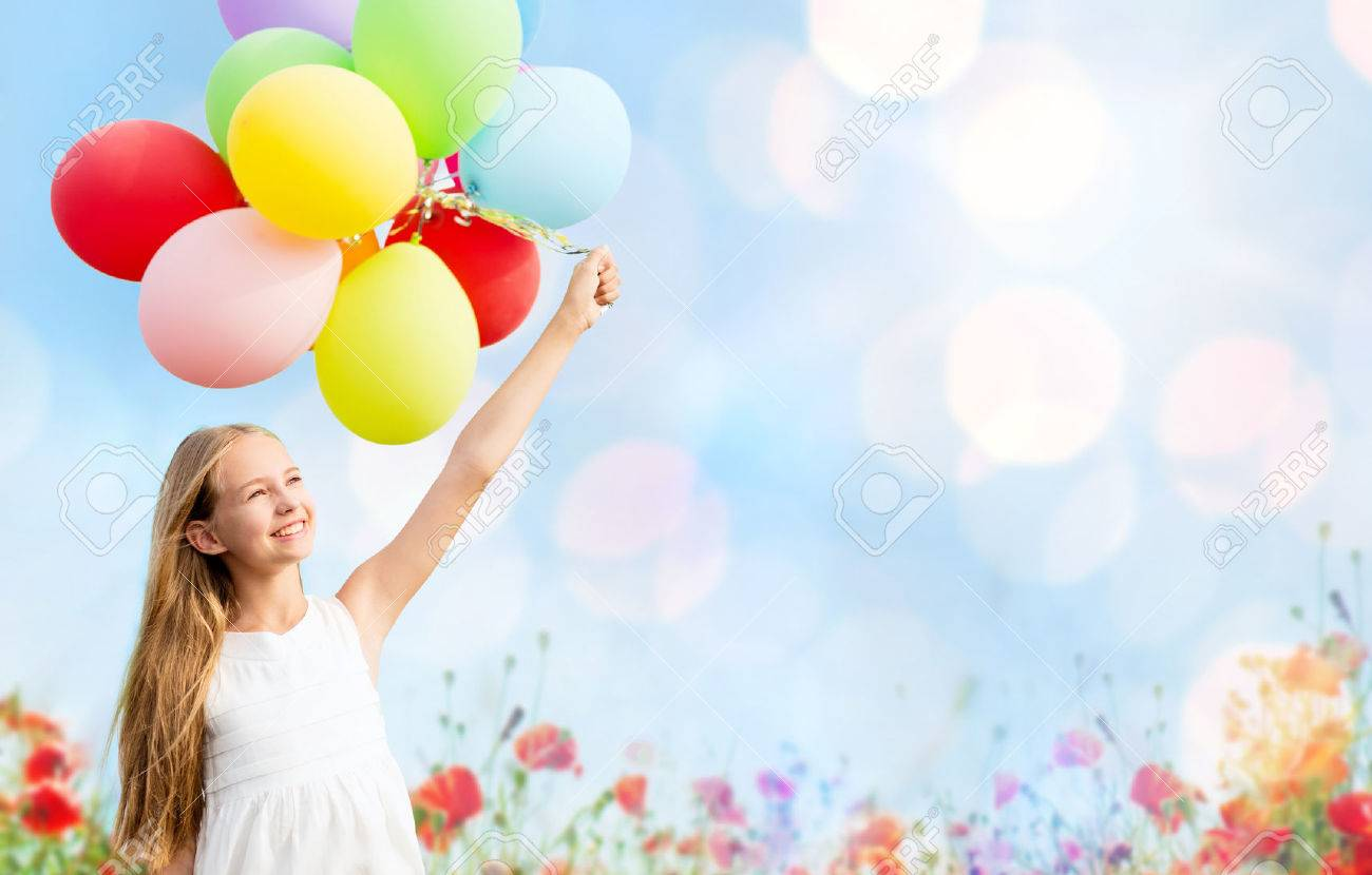 Happy Child Jumping Colorful Toy Balloons Stock Photo 269113436 ...