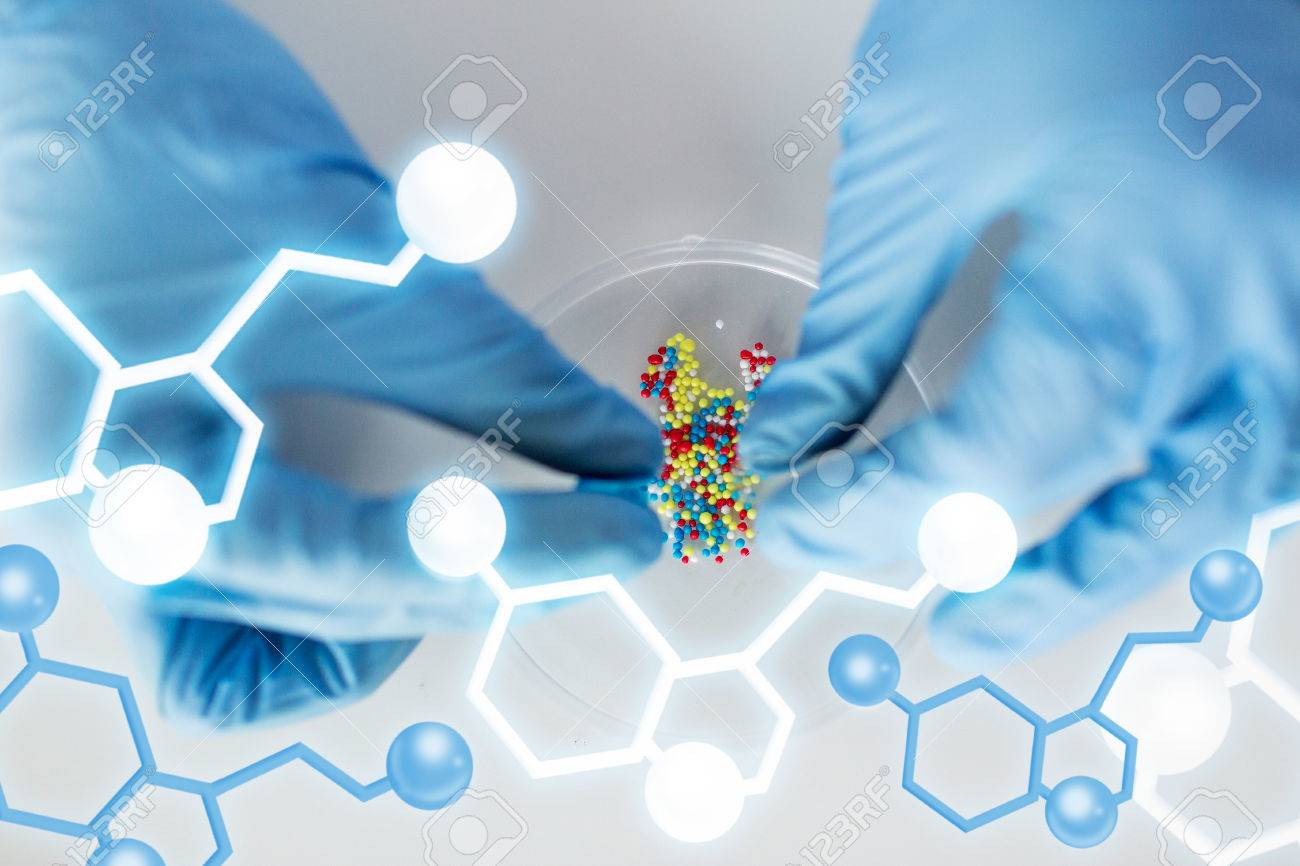 science, chemistry, biology, medicine and people concept - close up of scientist or doctor hands holding and pouring pill content into petri dish in laboratory with molecular structure - 37681447