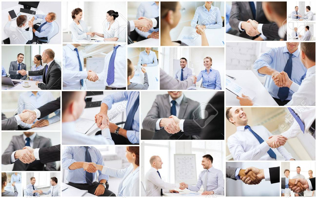 business deal and office concept collage with many different people shaking hands in office stock