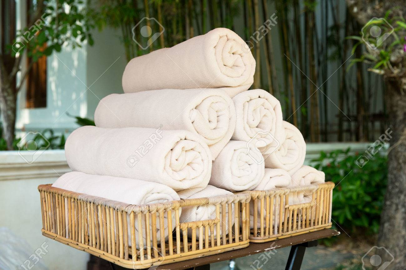 Stock Photo   luxury and hygiene concept   rolled bath towels at hotel spa. Luxury And Hygiene Concept   Rolled Bath Towels At Hotel Spa Stock