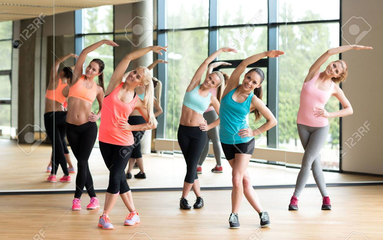 fitness, sport, training, gym and lifestyle concept - group of women working out in gym - 40248754