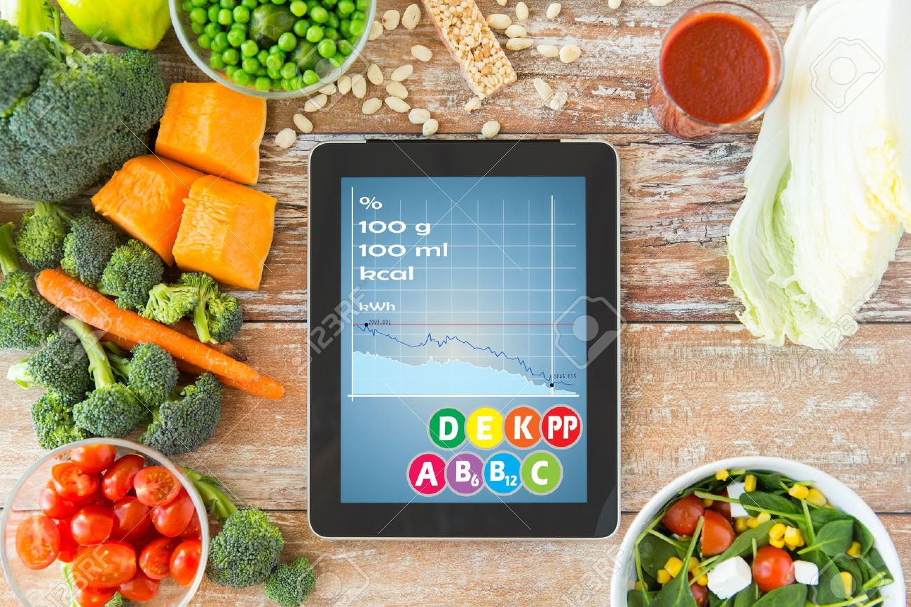 healthy eating, dieting, calories counting and weigh loss concept - close up of tablet pc screen with chart and vegetables on table - 40528377