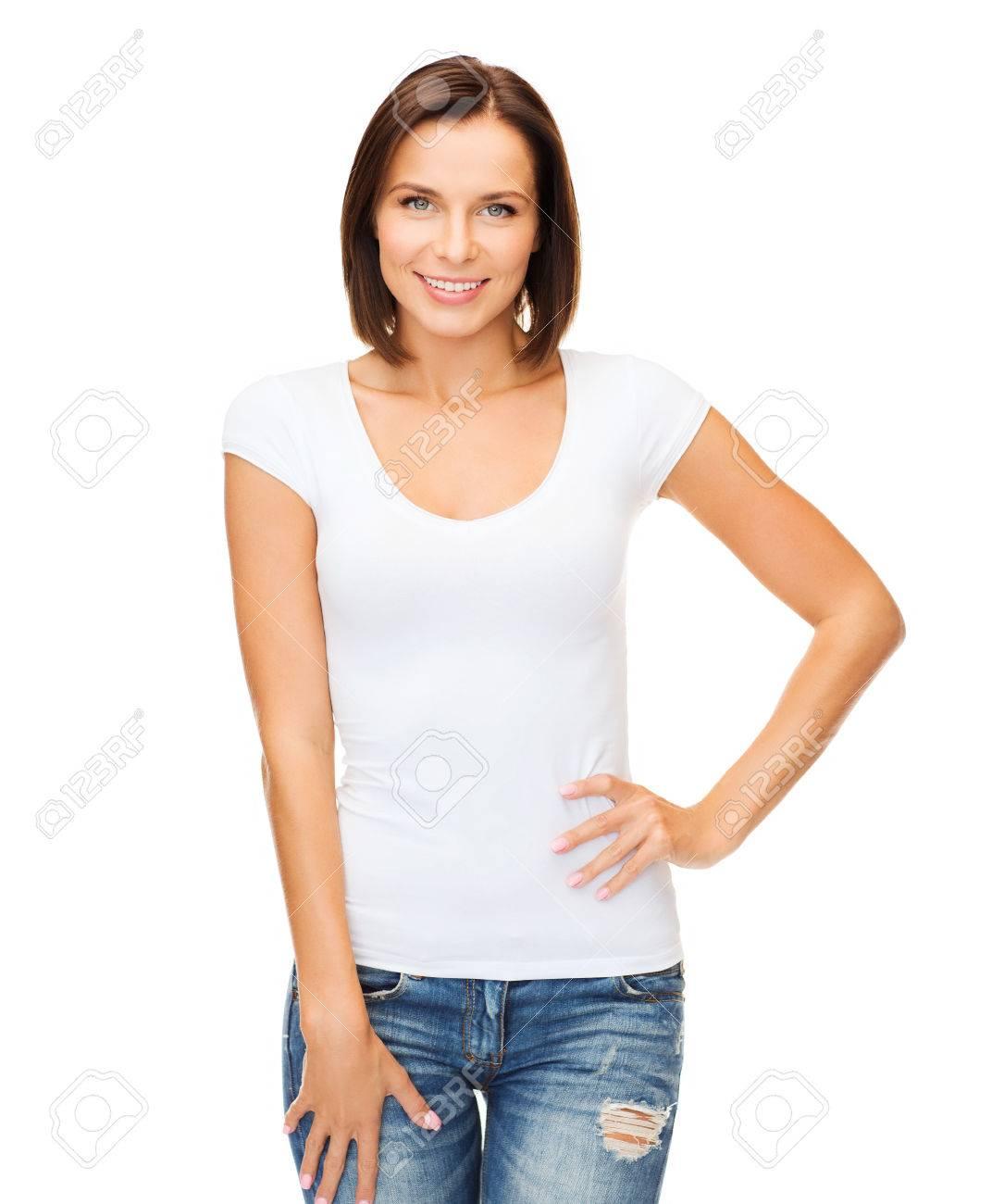 Shirt design female - Stock Photo T Shirt Design Concept Smiling Woman In Blank White T Shirt