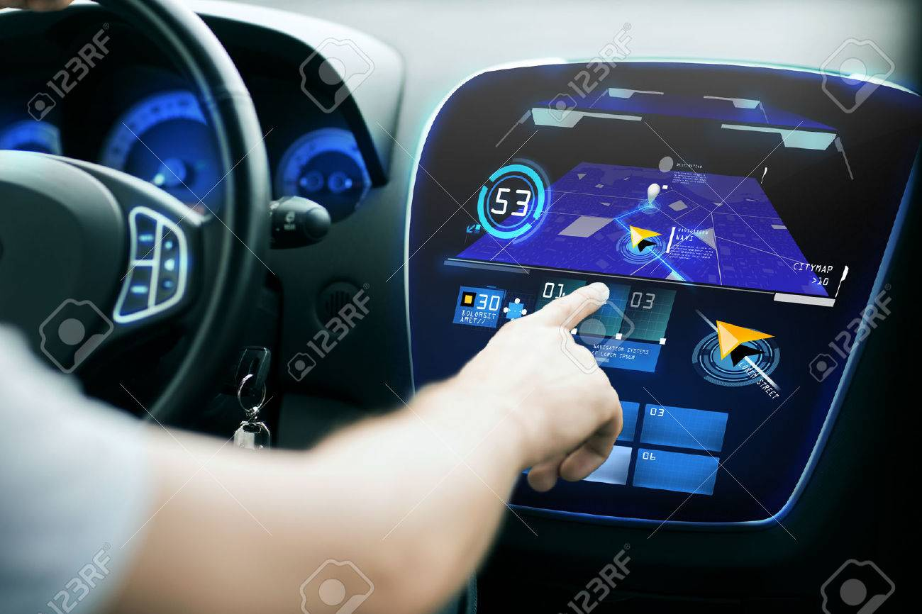 transport, destination, modern technology and people concept - male hand searching for route using navigation system on car dashboard screen Standard-Bild - 47958485