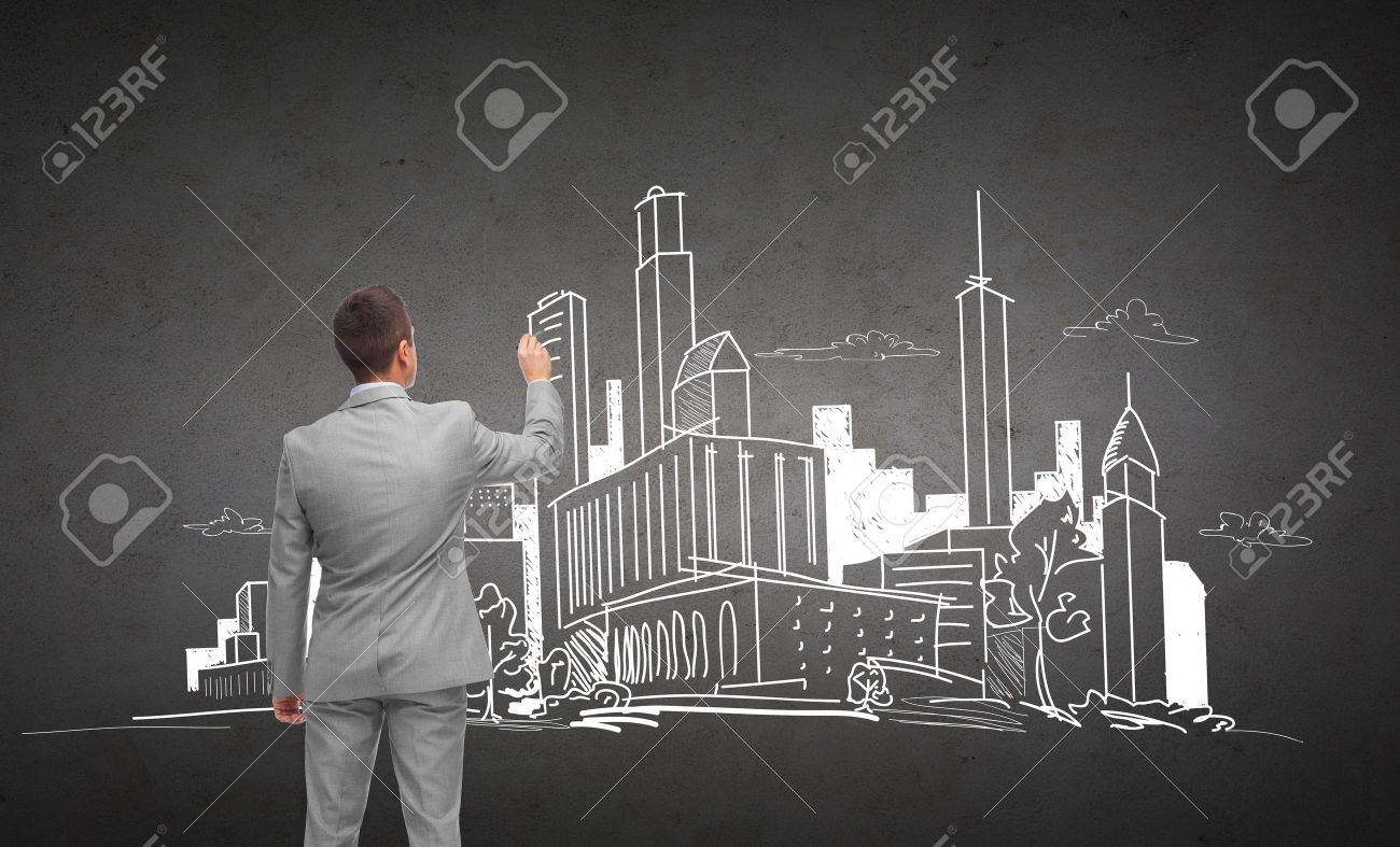 Wirtschaft Menschen Architektur Und Immobilien Konzept