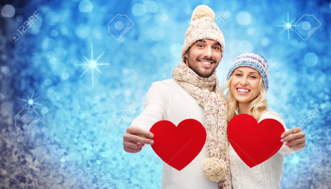 Liebe Valentinstag Paar Weihnachten Und Menschen Konzept Ein