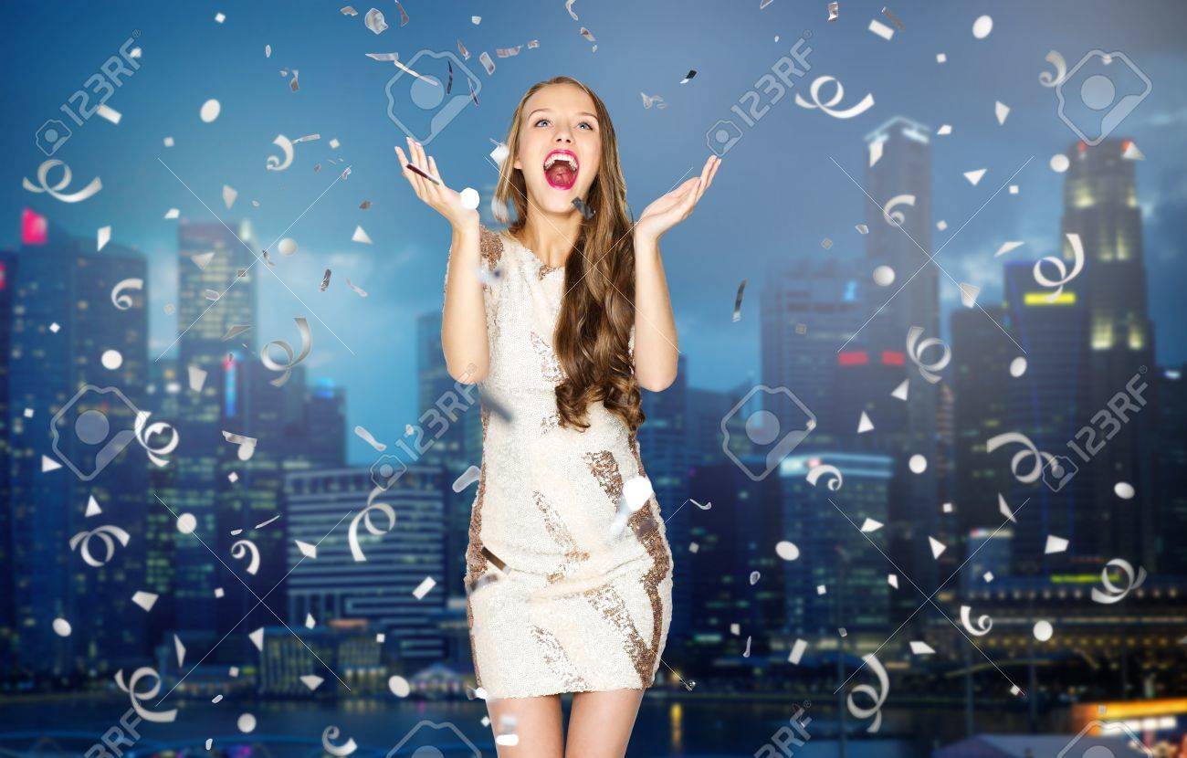 People, Holidays, Emotion And Glamour Concept - Happy Young Woman ...