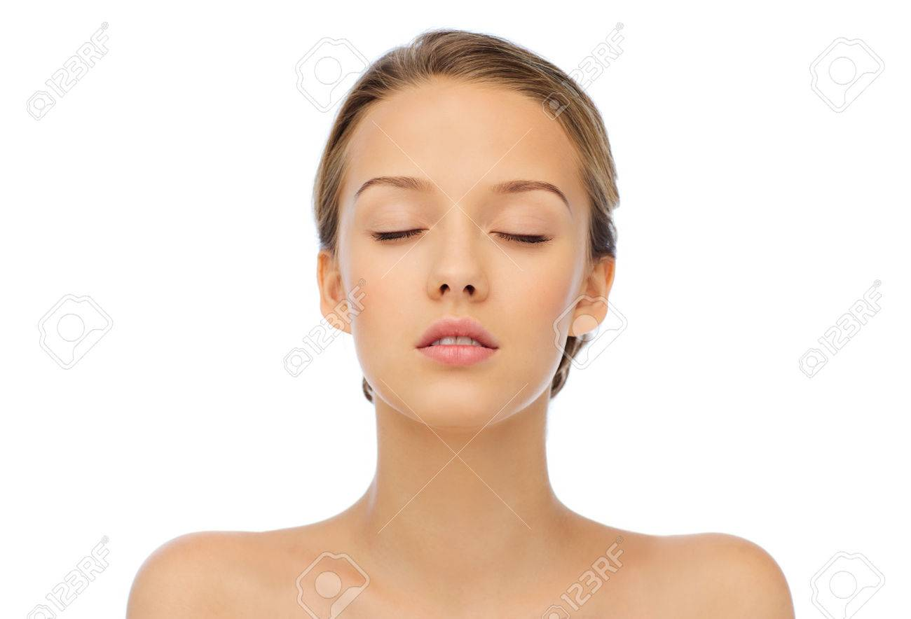beauty, people and health concept - young woman face with closed eyes and shoulders - 51237877