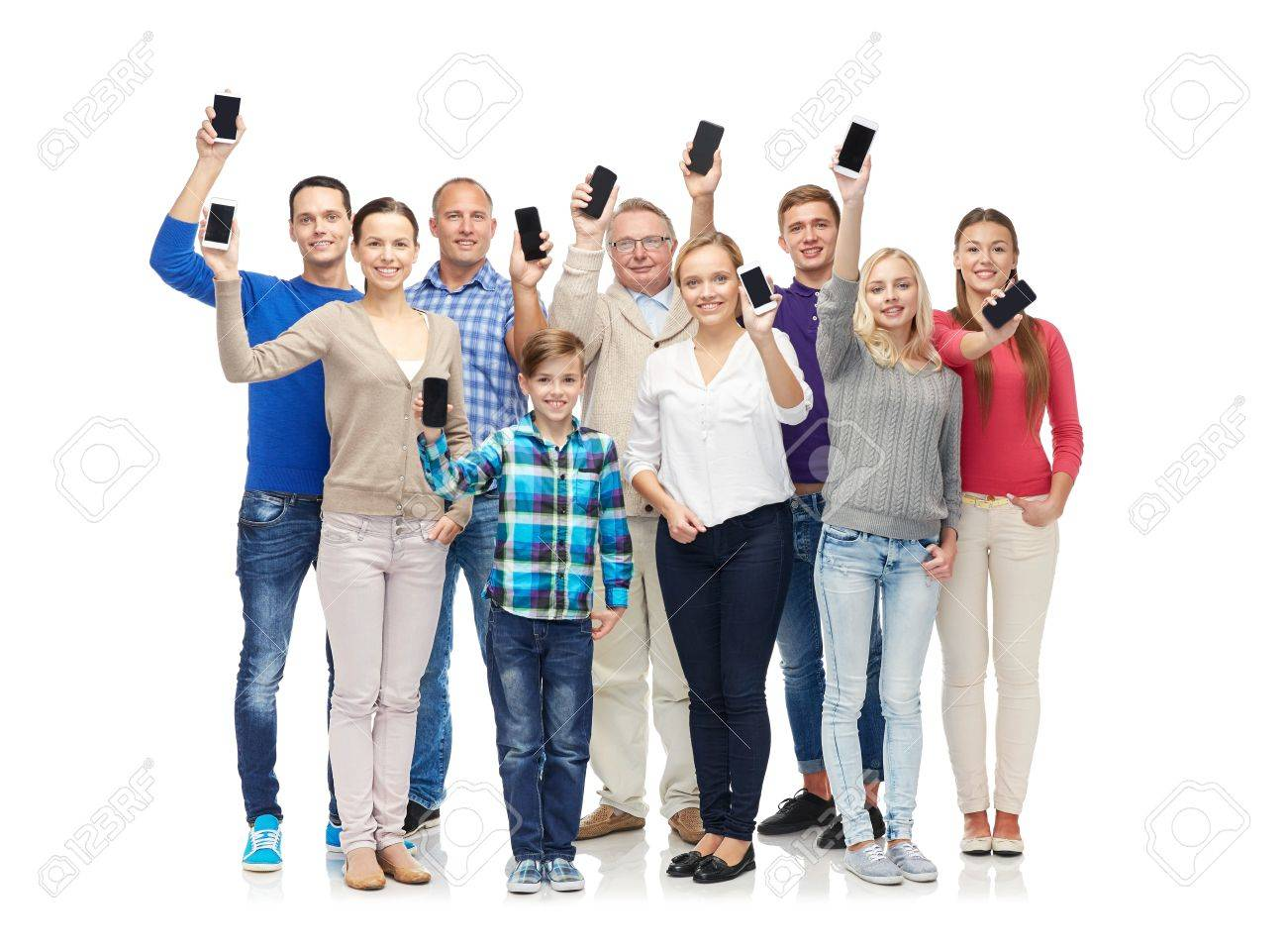 family, technology, generation and people concept - group of smiling men, women and boy smartphones Stock Photo - 51496442
