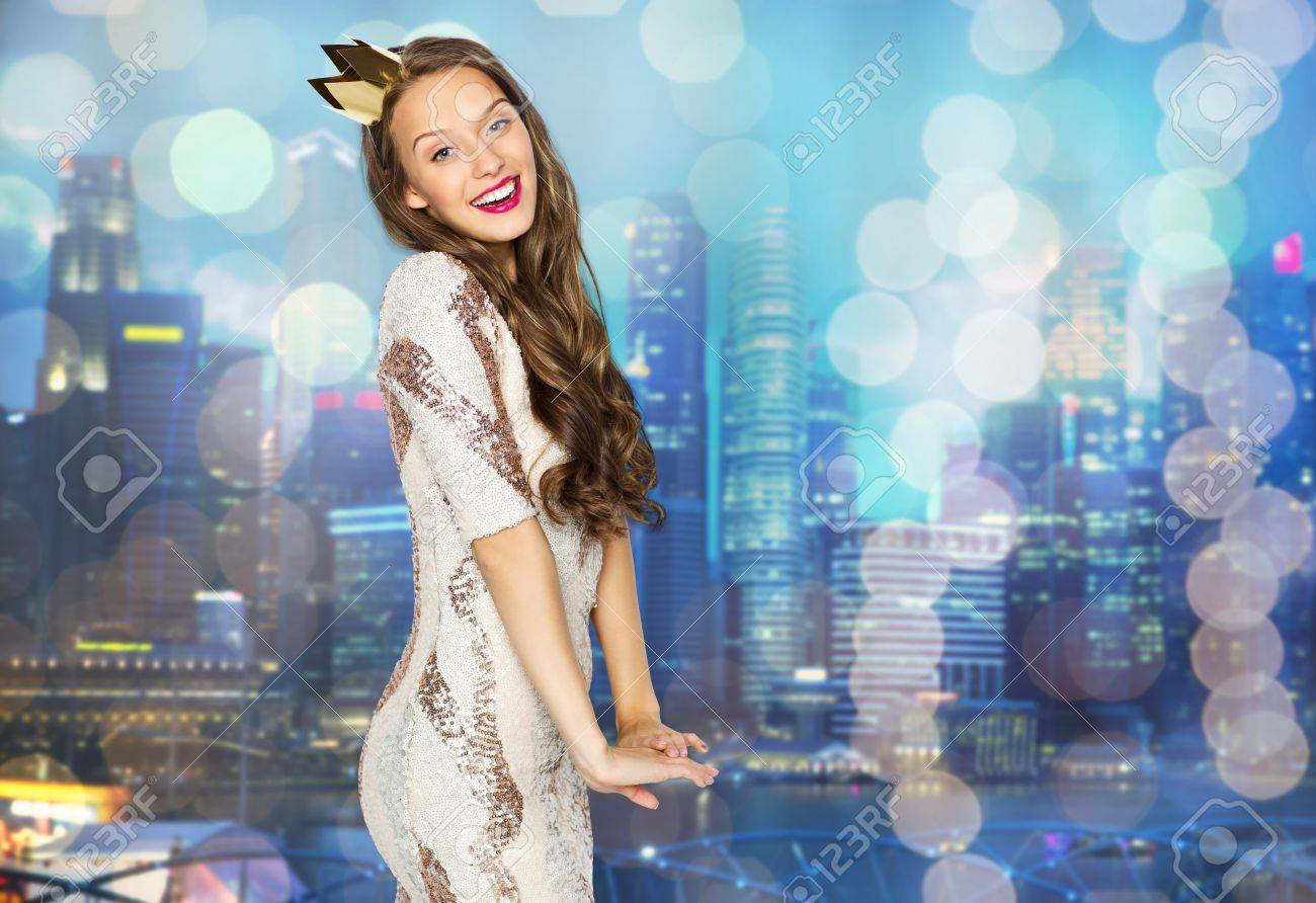 Happy Young Woman Or Teen Girl In Party Dress And Princess Crown ...