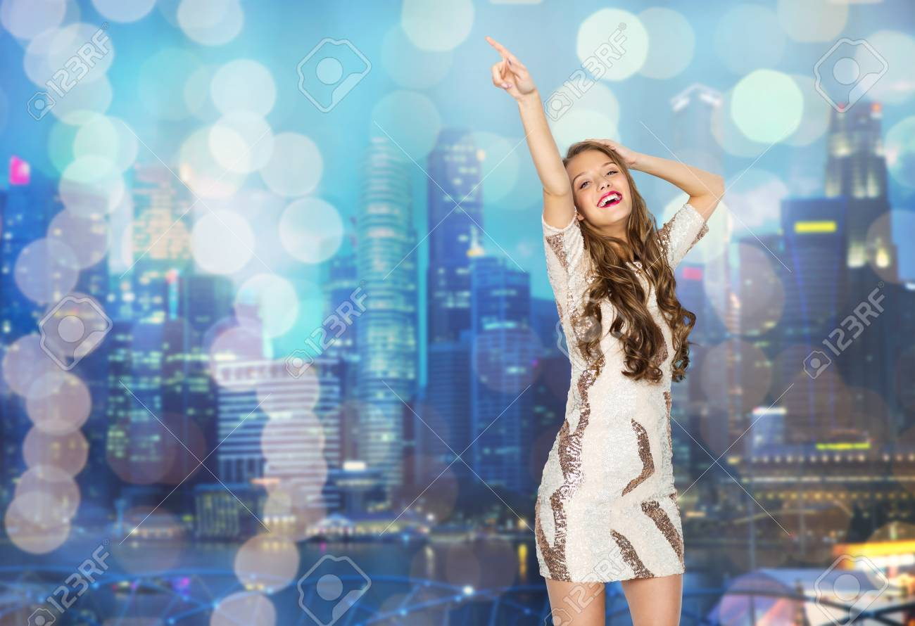 Happy Young Woman Or Teen Girl In Fancy Dress With Sequins And ...