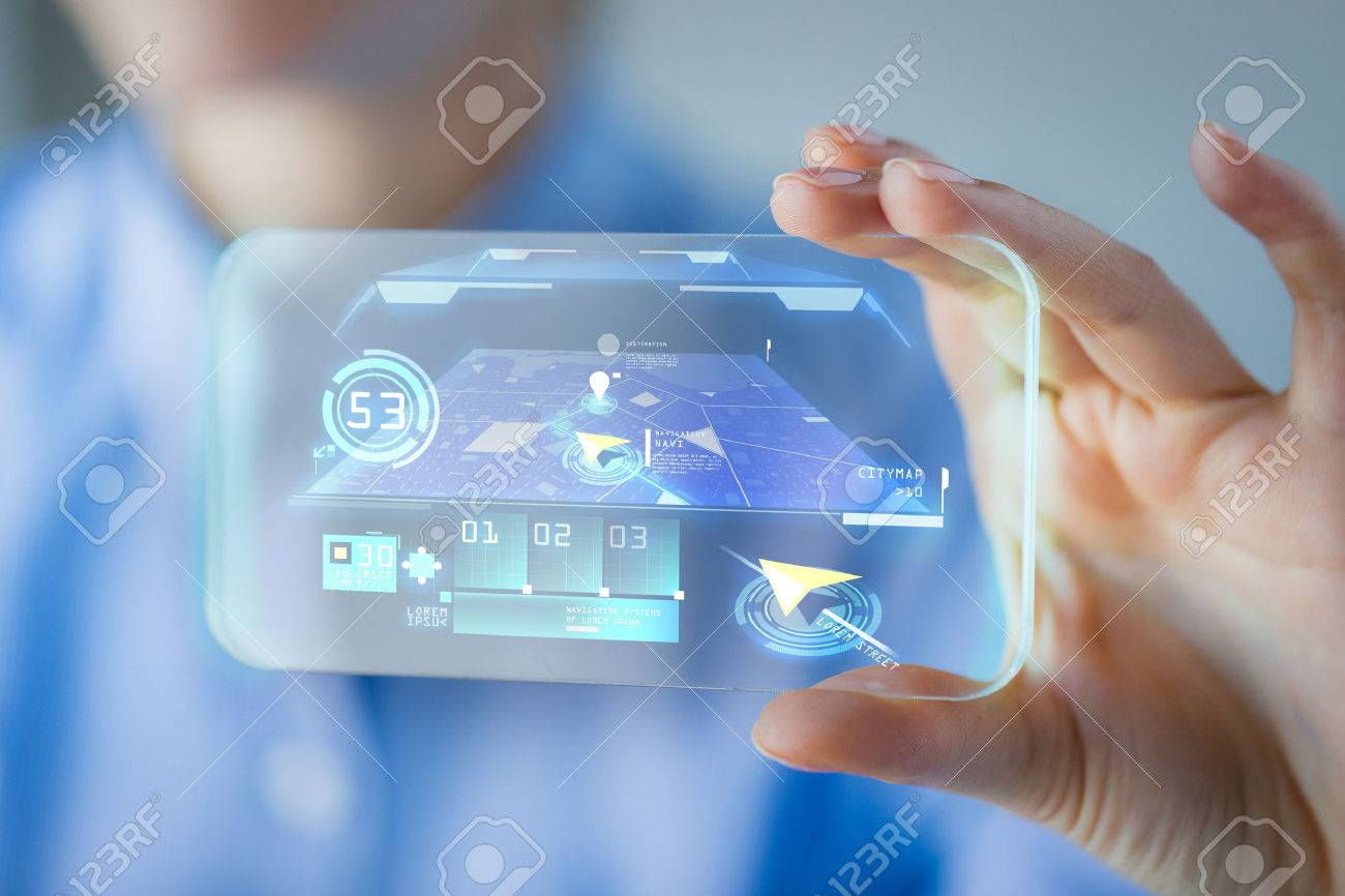 business, technology, navigation system and people concept - close up of woman hand holding and showing transparent smartphone with navigator on screen - 51852092