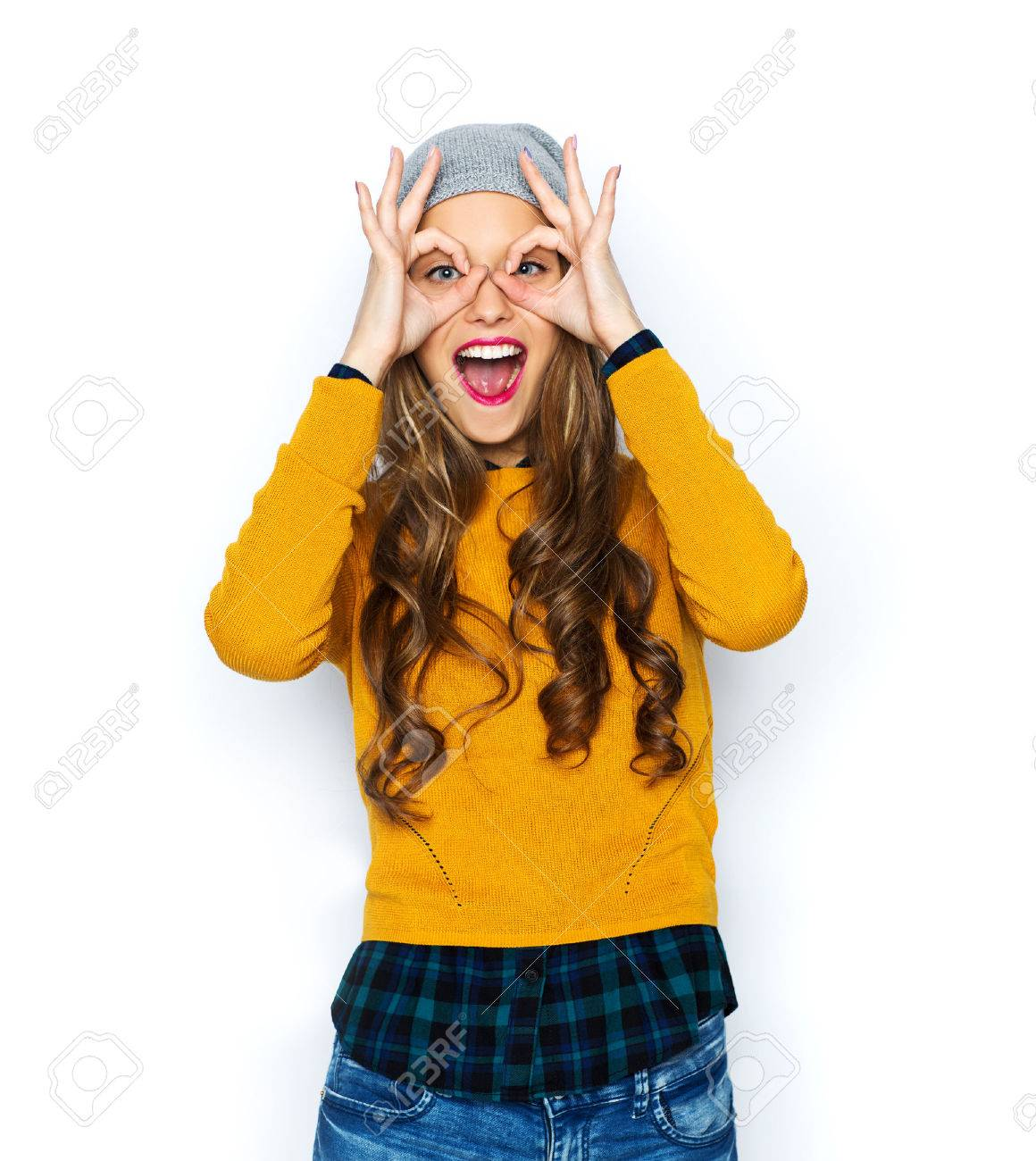 people, style and fashion concept - happy young woman or teen girl in casual clothes and hipster hat having fun - 51942735