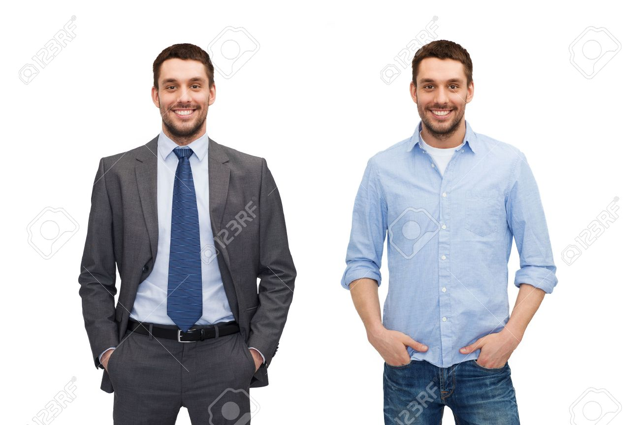 business and casual clothing concept - same man in different style clothes - 52118409