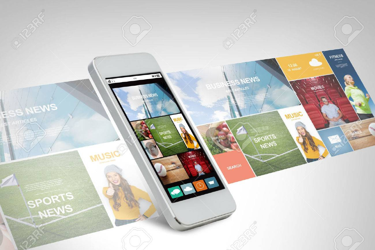 technology, business, electronics, internet and media concept - white smarthphone with news web page and application icons on screen - 53241355