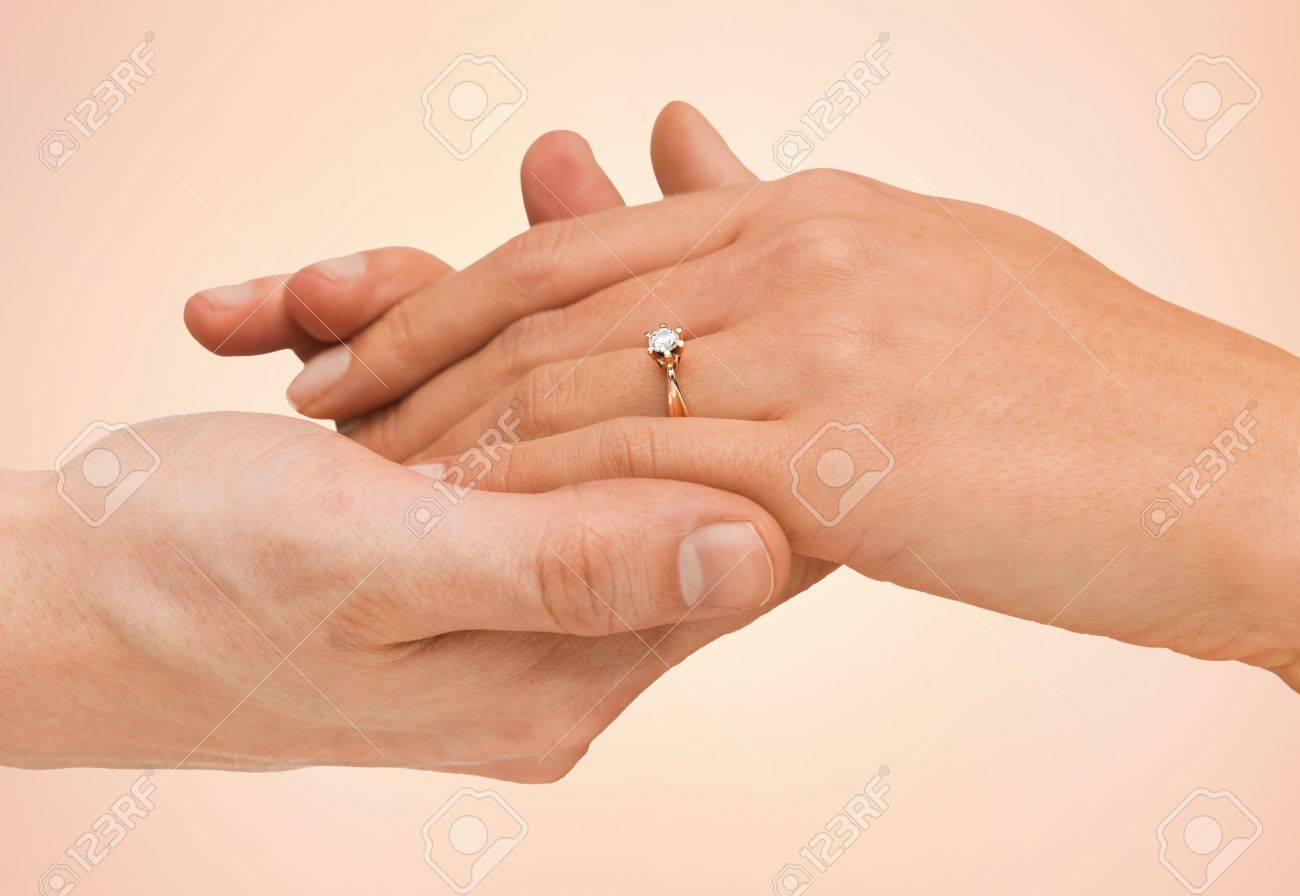 Schmuck Paar Liebe Und Hochzeit Konzept Nahaufnahme Von Mann Und