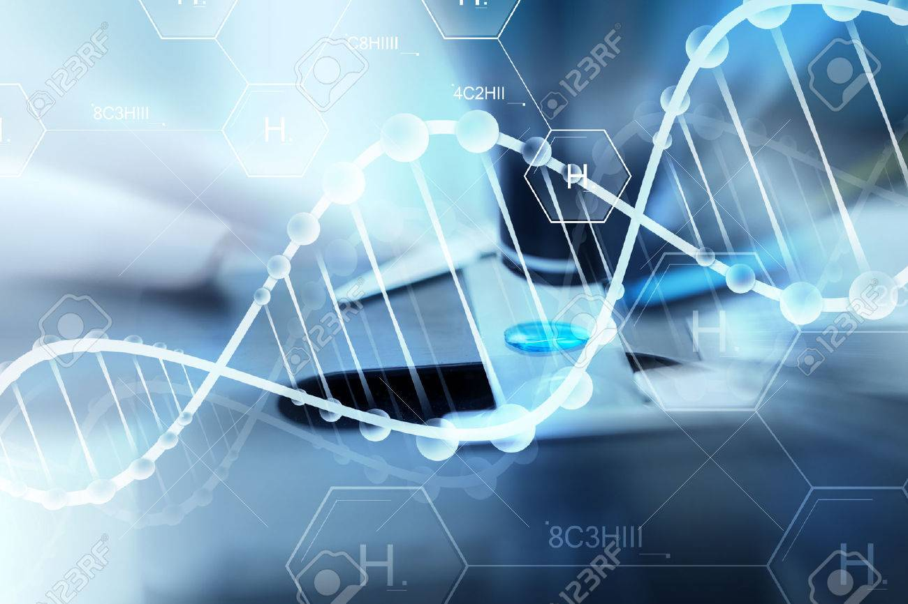 science, chemistry, biology, medicine and people concept - close up of scientist hand with test sample making research in clinical laboratory over hydrogen chemical formula and dna molecule structure - 53495784