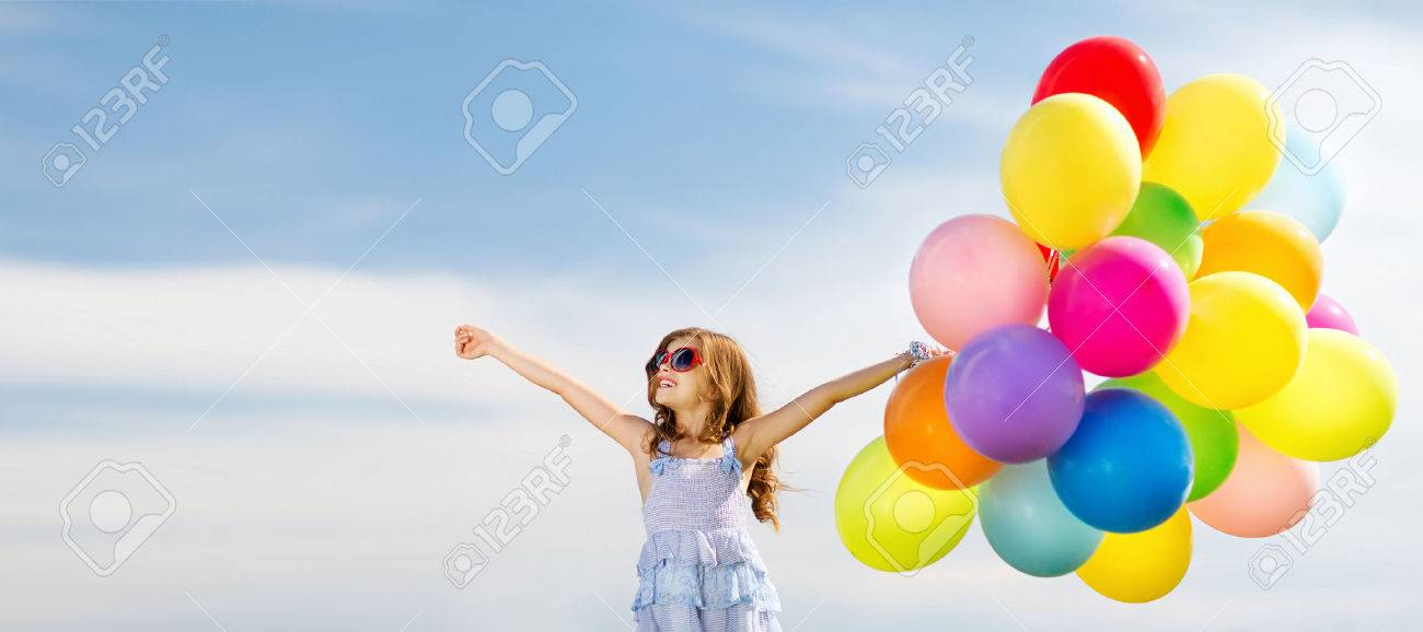 summer holidays, celebration, family, children and people concept - happy girl with colorful balloons - 53475499