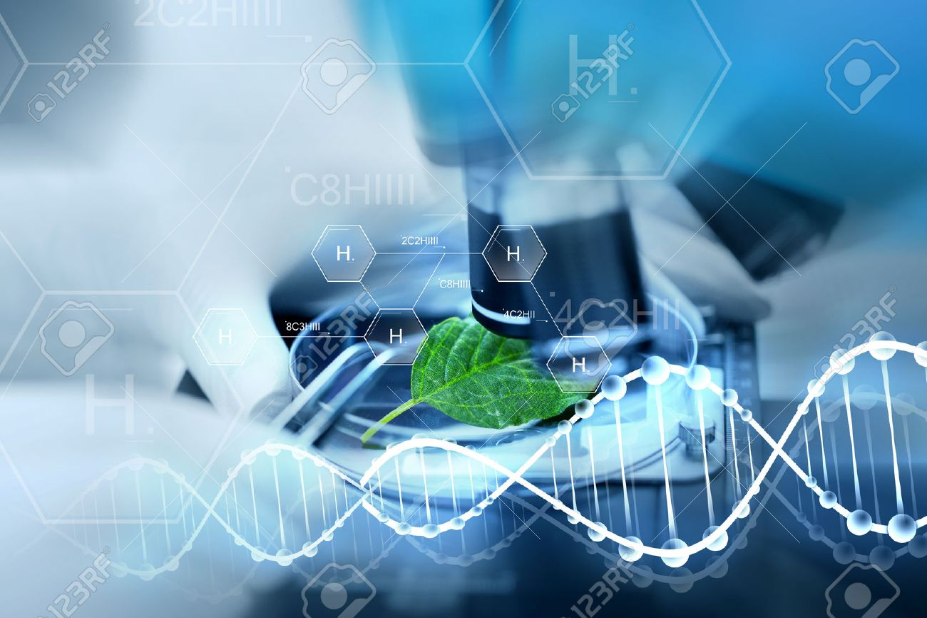 science, chemistry, biology and people concept - close up of scientist hand with microscope and green leaf making research in laboratory over hydrogen chemical formula and dna molecule structure - 53627992