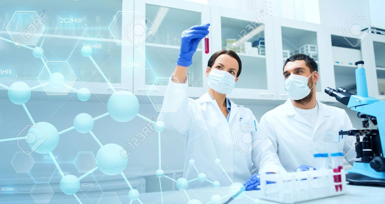 science, chemistry, technology, biology and people concept - young scientists with test tube and microscope making research in clinical laboratory over blue molecular structure background - 53627994