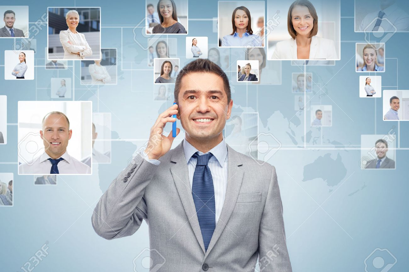 global business, people, network, communications and technology concept - happy businessman calling on smartphone over blue background with world map and contacts icons - 53712117