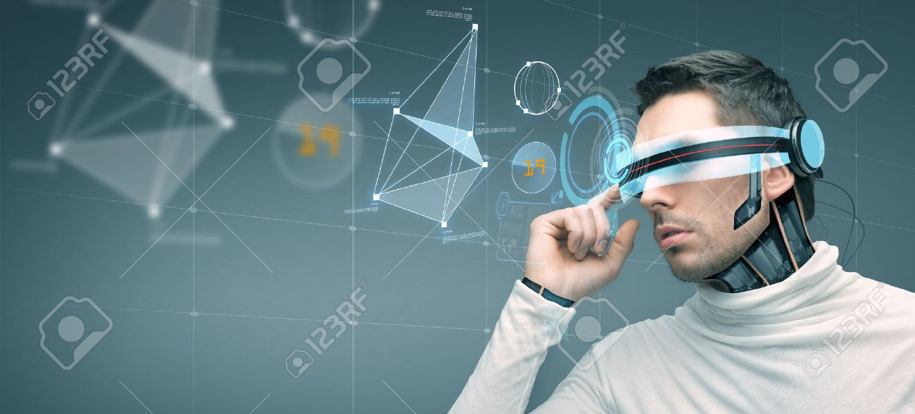 people, technology, future and progress - man with futuristic 3d glasses and microchip implant or sensors over gray background with virtual screen - 53725715