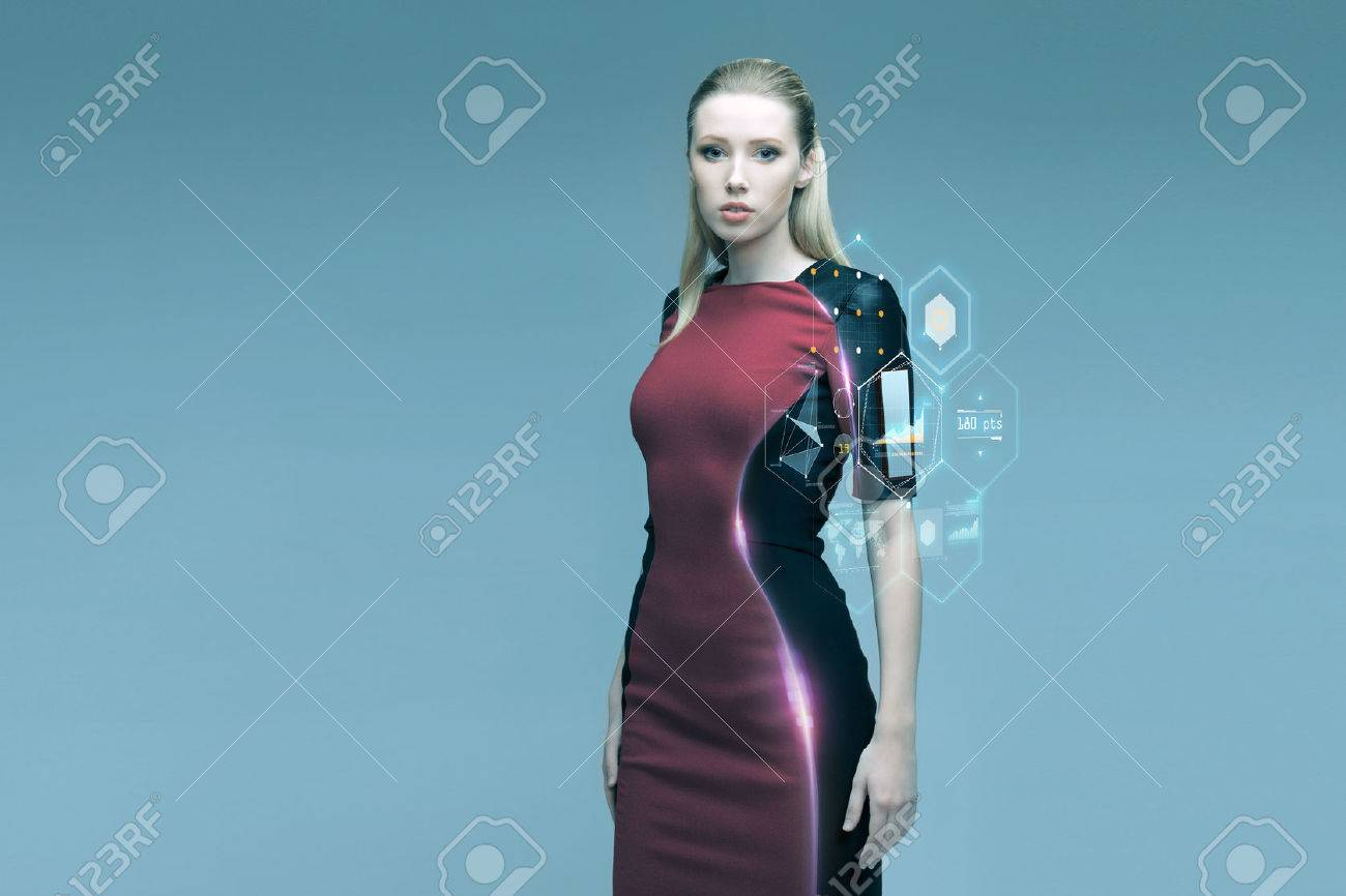 people, future technology and science concept - beautiful futuristic woman with virtual projection over gray background - 54304564