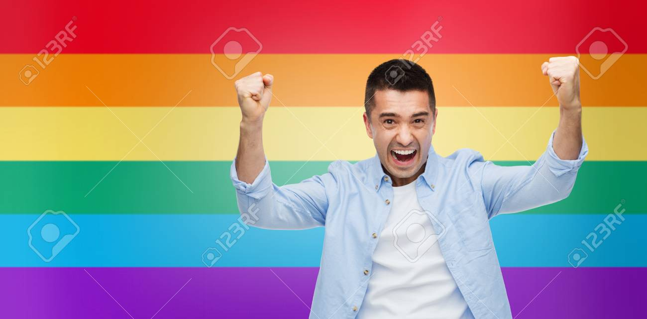 Gesture Emotions Homophobia And People Concept Angry Gay Man With Raised Hands Over