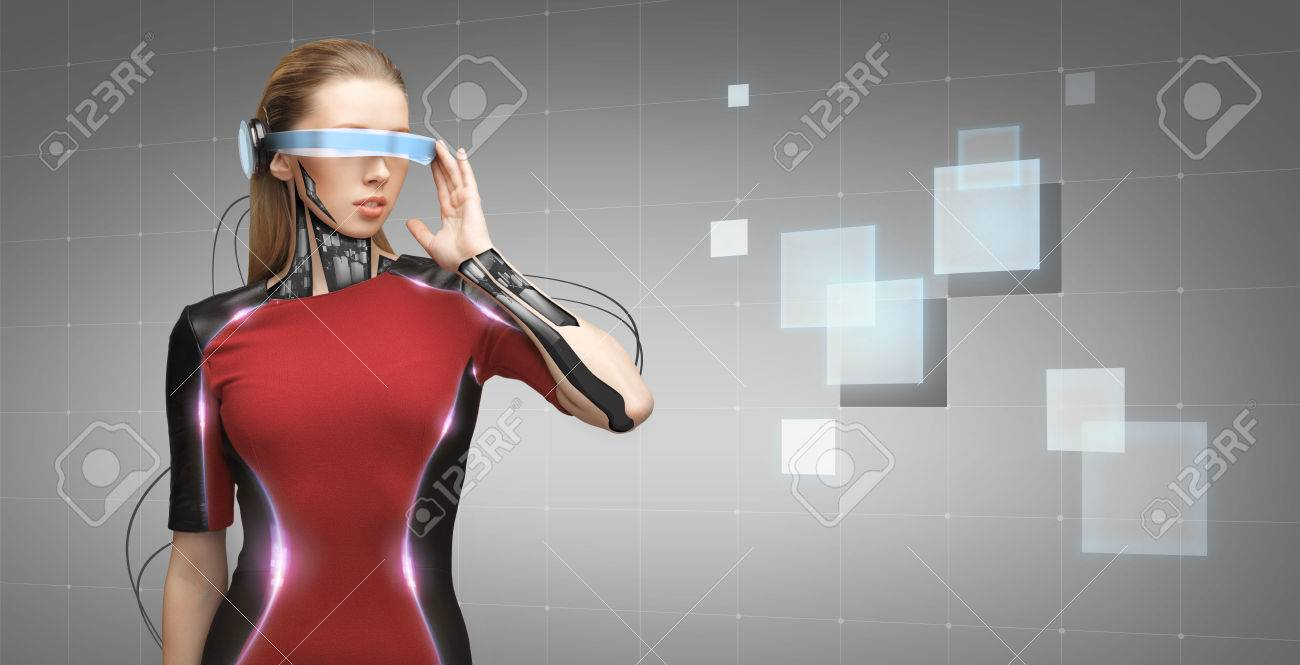people, technology, future and progress - young woman with futuristic glasses and microchip implant or sensors over gray background with grid and squares - 54443958