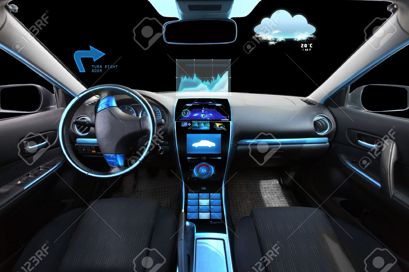 transport, destination and modern technology concept - car salon with navigation system on dashboard and meteo sensor on windshield - 57179541