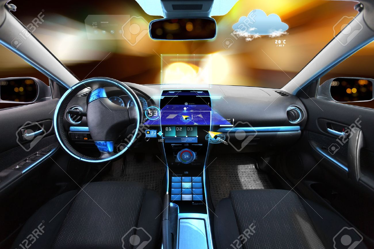 transport, destination and modern technology concept - car salon with navigation system on dashboard and meteo sensor on windshield over night lights background - 57255454